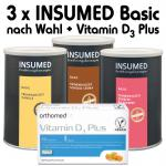 Insumed Basic Paket, 3 Dosen (nach Wahl) inkl. orthomed fit Vitamin D₃ Plus; 60 Kapseln (täglich 1 Kapsel)