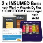 Insumed Basic Paket, 2 Dosen (nach Wahl) und 10 Eiweißriegel (nach Wahl) inkl. orthomed fit Vitamin D₃ Plus; 60 Kapseln (täglich 1 Kapsel)