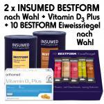 Insumed Bestform Paket, 2 Dosen (nach Wahl) und 10 Eiweißriegel (nach Wahl) inkl. orthomed fit Vitamin D₃ Plus; 60 Kapseln (täglich 1 Kapsel)